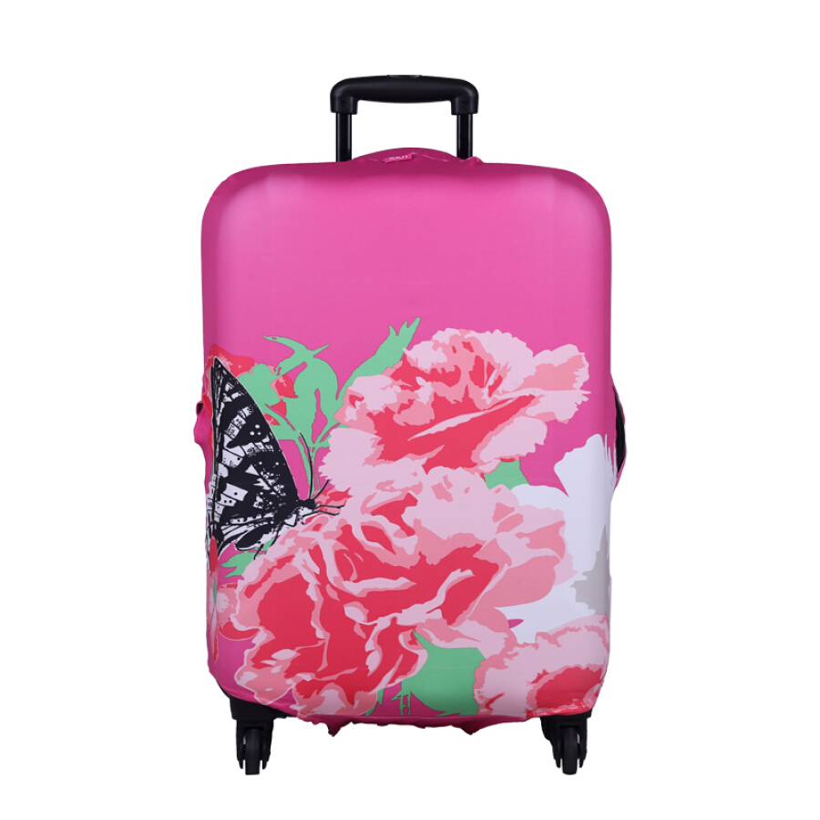 LOQI Luggage Case Cover Waterproof Rainproof Dustproof Wear Fashion Travel Trolley Case Cover Art Series Carnation S Code Applicable to 19-22...