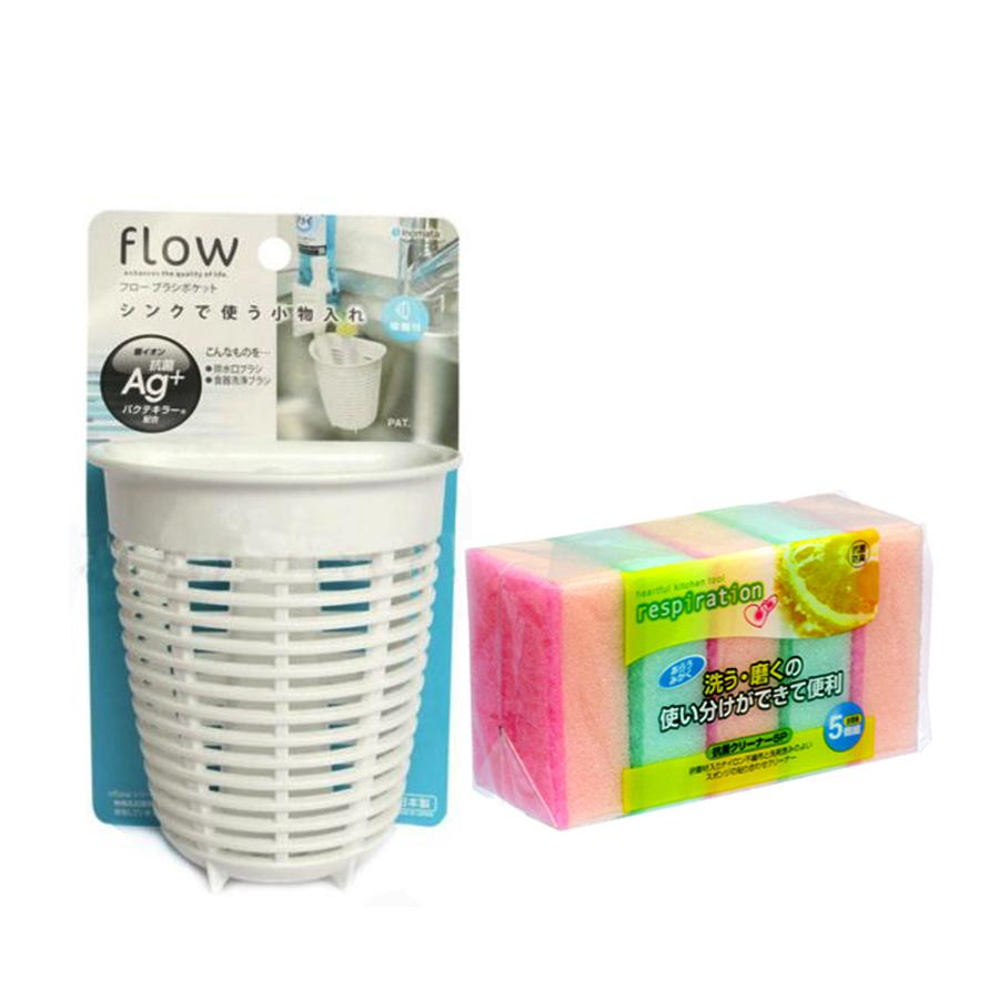 Combo Giá để giẻ rửa bát hình rổ dáng sâu màu trắng + Set 5 miếng xốp rửa bát 1 mặt ráp