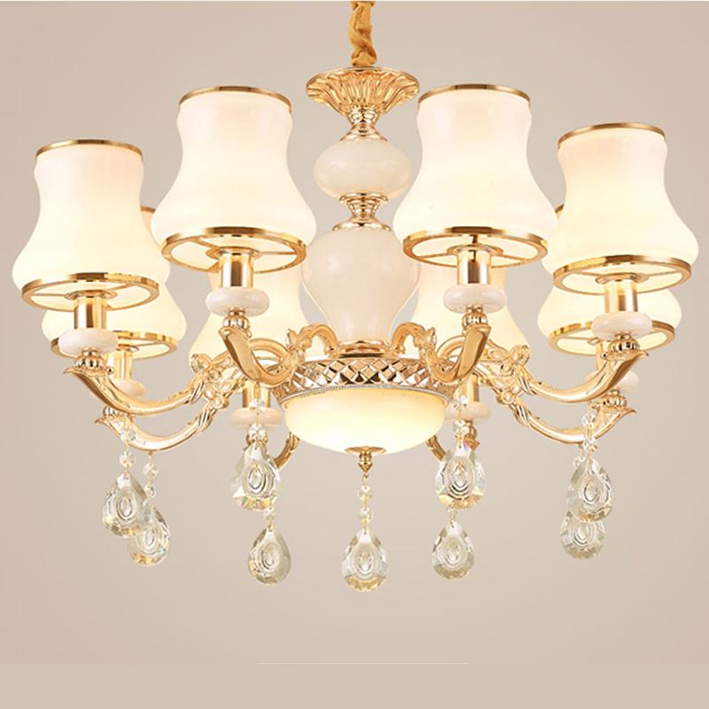 Đèn trần - đèn chùm - đèn trang trí pha lê mang phong cách Châu Âu (Loại 8 bóng)