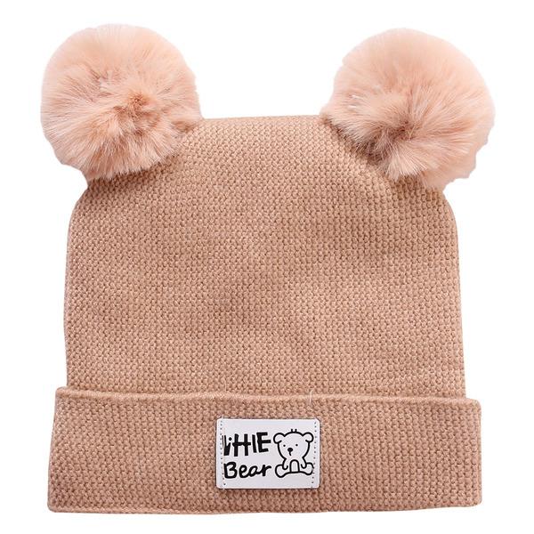 Mũ len 2 quả bông cho bé - màu ngẫu nhiên