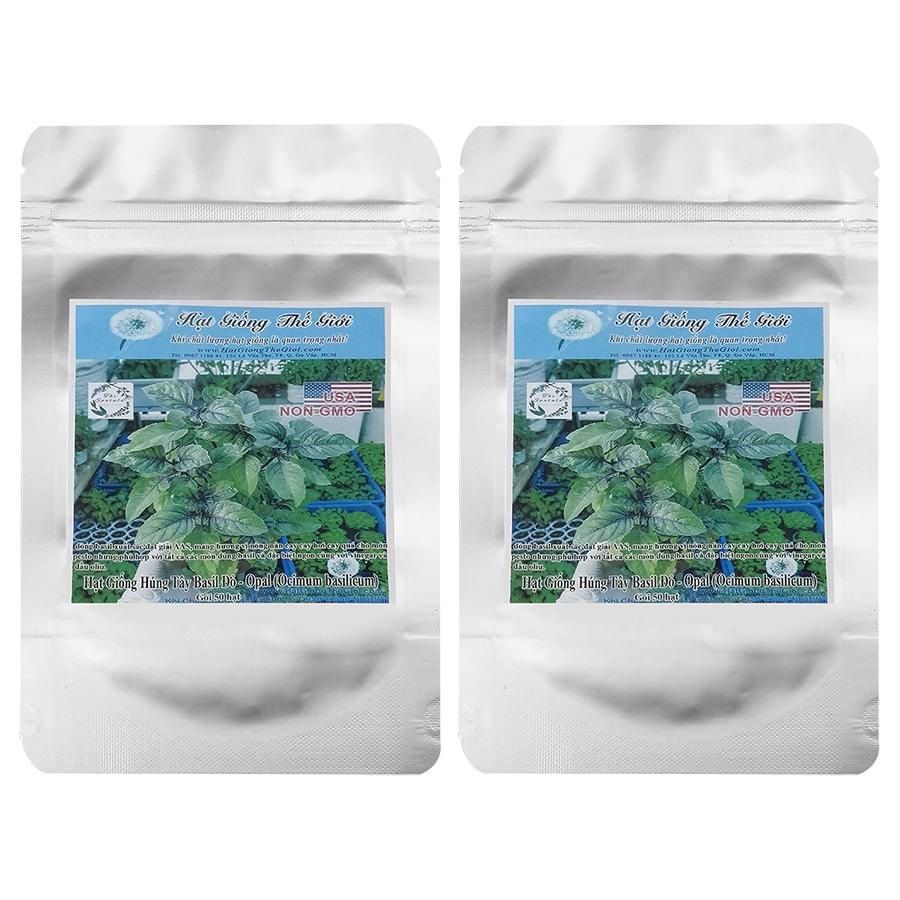 Bộ 2 túi 50h Hạt Giống Basil Húng Tây Đỏ - Opal (Ocimum basilicum)