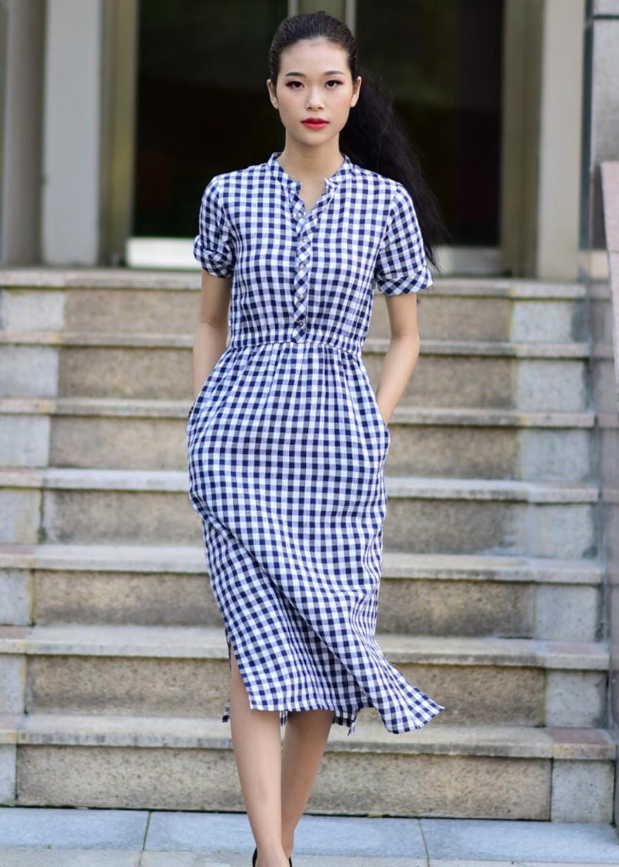 Đầm Dáng Dài Nhún Eo Sọc Caro Chất Linen Cotton, Phong Cách