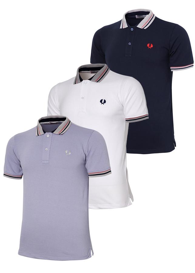 Bộ 3 áo thun nam cổ bẻ phối bo sọc dệt đặc biệt TPAHT12 màu xanh môn trắng xanh đen