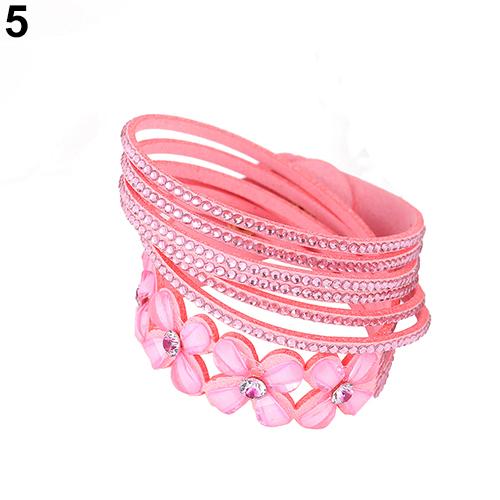 Women Fashion Multilayer Lint Rhinestone Rivet Decor Bracelet Bangle Jewelry Gift