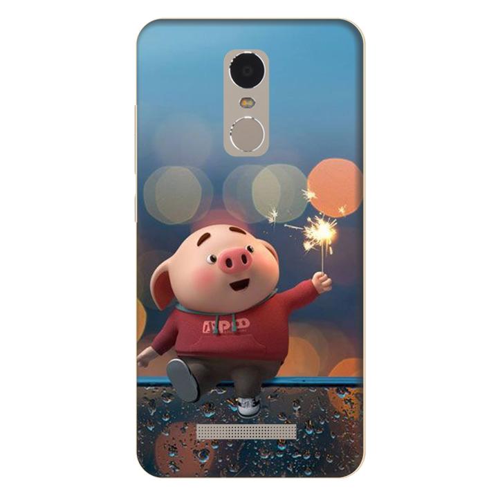 Ốp lưng nhựa cứng nhám dành cho Xiaomi Redmi Note 3 in hình Heo Pháo Bông