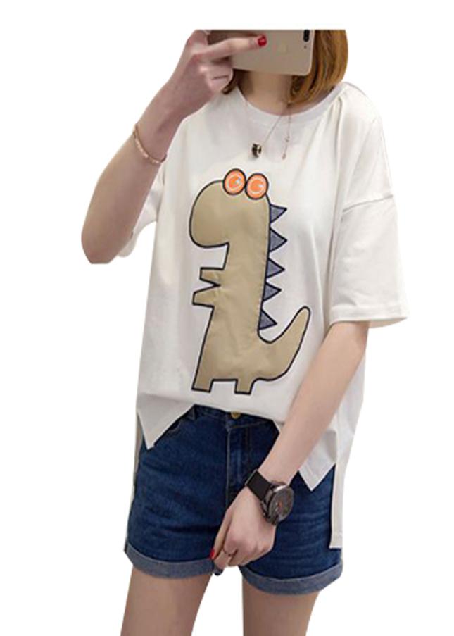 Áo thun nữ d324 khủng long màu trắng thương hiệu Td