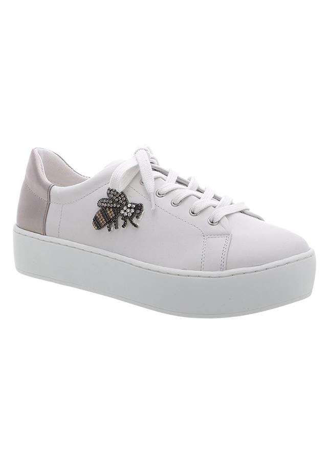 Giày Sneaker Nữ Arezzo A10510 - 0011 / 0004u - Nappa Tenis/Leather Metal - Blanc/Prata Velho