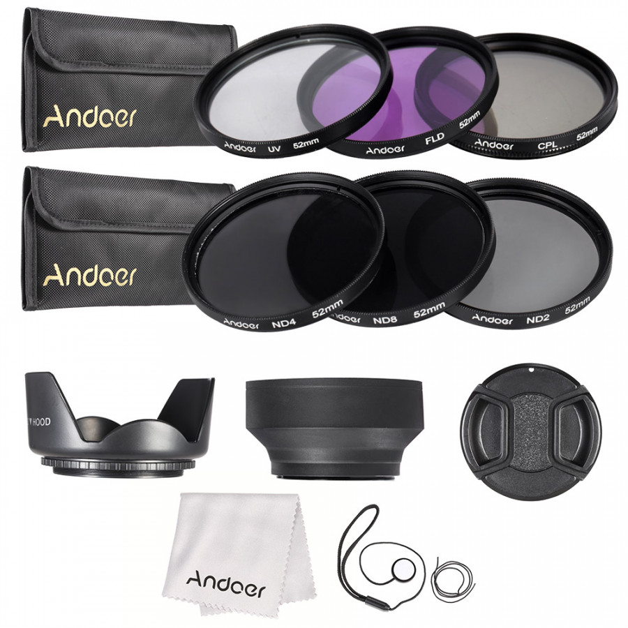 Bộ Lọc Ống Kính UV + CPL + FLD + ND (ND2 ND4 ND8) Với Túi Đựng / Nắp Ống Kinh / Giá Đỡ Ống Kính Andoer (52mm)