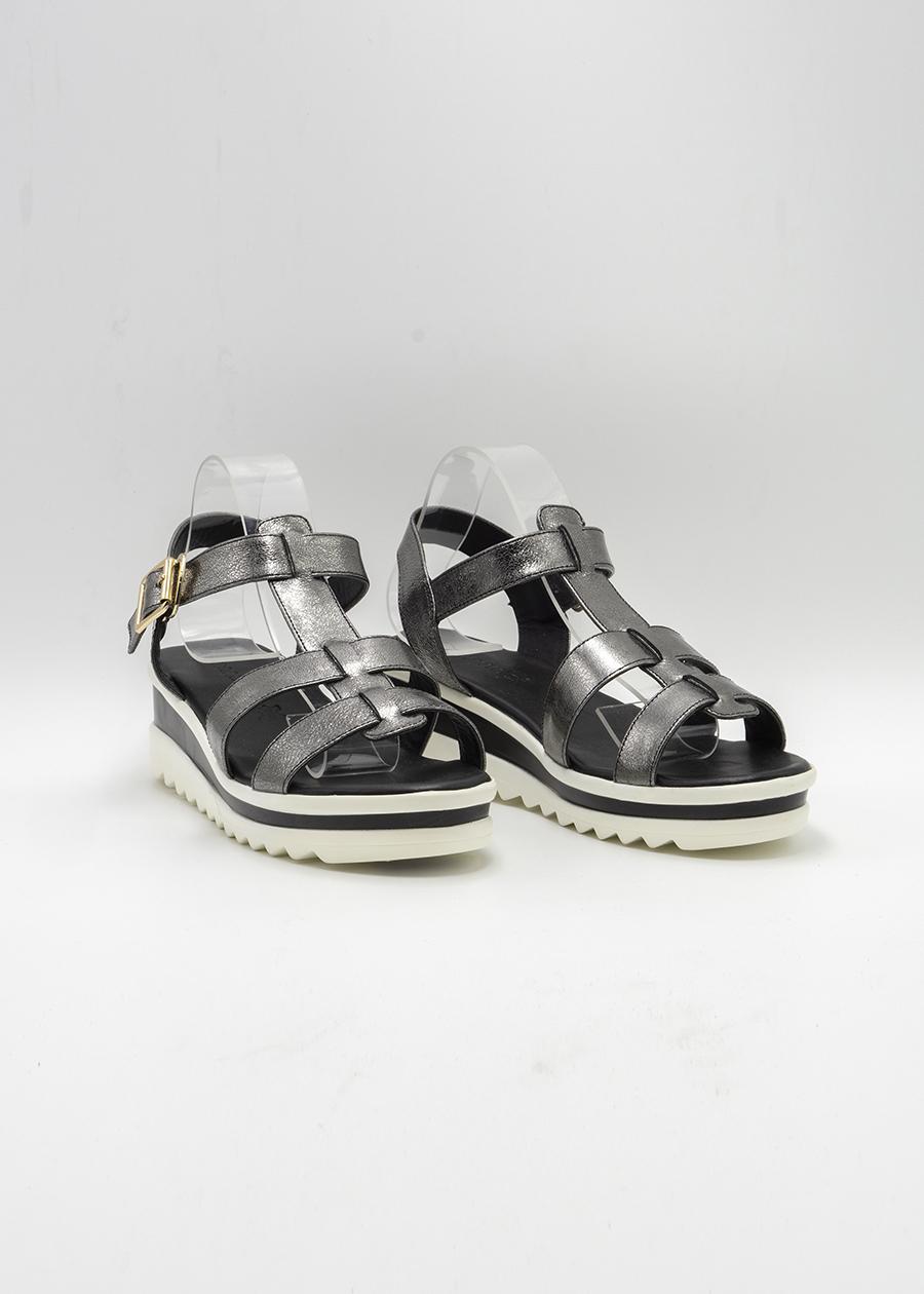 Giày Sandal Lamnda Đế bằng Màu Xám Tro KayLee