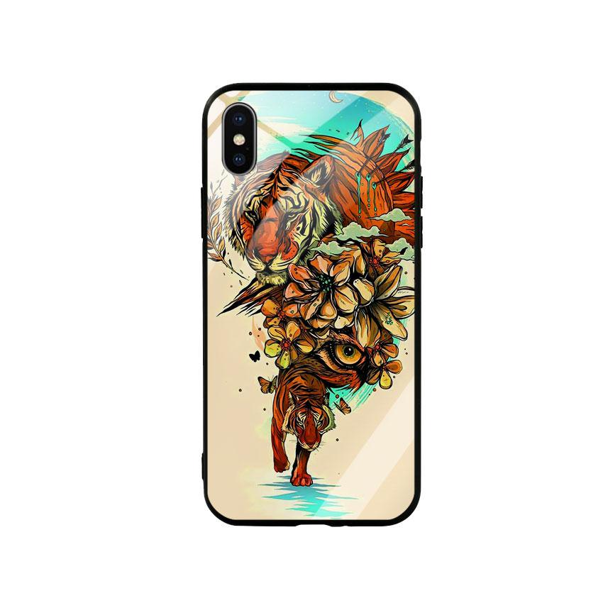 Ốp Lưng Kính Cường Lực cho điện thoại Iphone X / Xs - Tiger 05