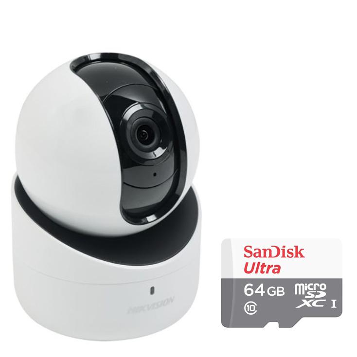 Camera IP Wifi Xoay 4 Chiều Hikvision DS-2CV2Q21FD-IW 2.0MP Và Thẻ Nhớ 64GB - Tặng Kèm Tai Nghe Bluetooth
