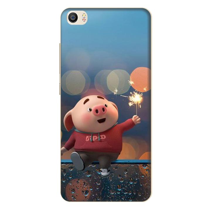 Ốp lưng nhựa cứng nhám dành cho Xiaomi Mi 5 in hình Heo Pháo Bông