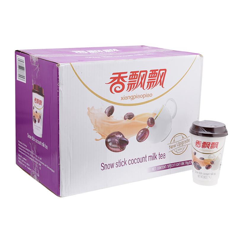 Trà sữa vị nếp cẩm sữa dừa XiangPiaoPiao thùng 30 cốc x 78g