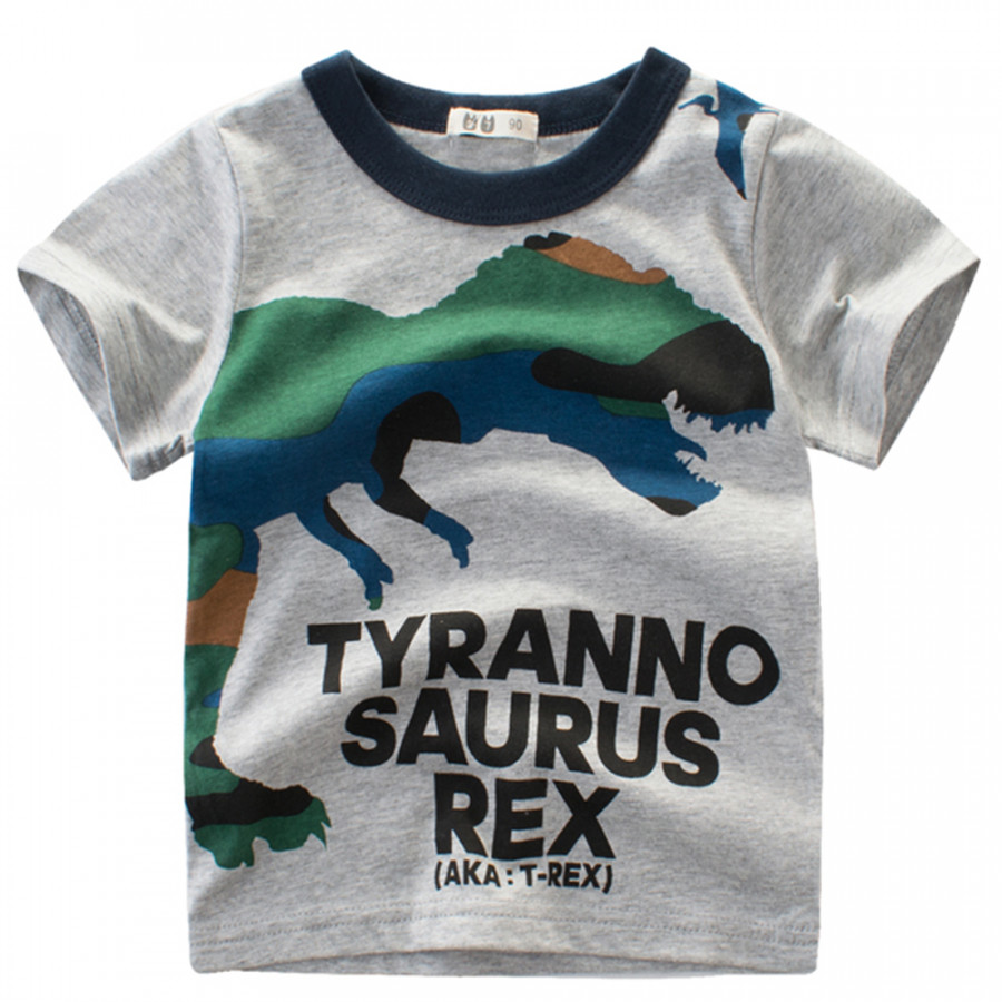 Boy Short Sleeve Cotton T-Shirt Round Neck Summer Kids Clothes Cartoon Dinosaur Camouflage Printing  Shirt Tee - 853135 , 9378091232831 , 62_14097681 , 211000 , Boy-Short-Sleeve-Cotton-T-Shirt-Round-Neck-Summer-Kids-Clothes-Cartoon-Dinosaur-Camouflage-Printing-Shirt-Tee-62_14097681 , tiki.vn , Boy Short Sleeve Cotton T-Shirt Round Neck Summer Kids Clothes Carto