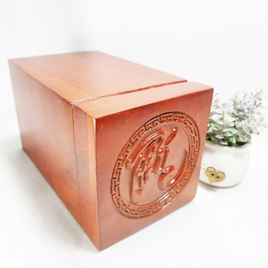 Hộp đựng trà gỗ hương chữ phúc nổi - hộp đựng trà gỗ hương WINS WOOD