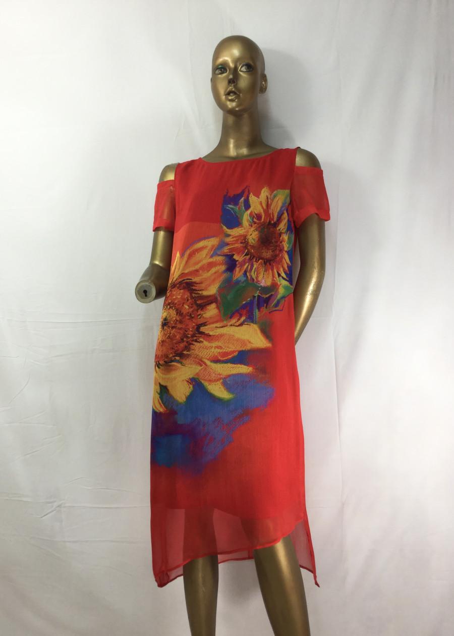 Đầm Suông Giấu Bụng Voan Tằm Đỏ Hướng Dương