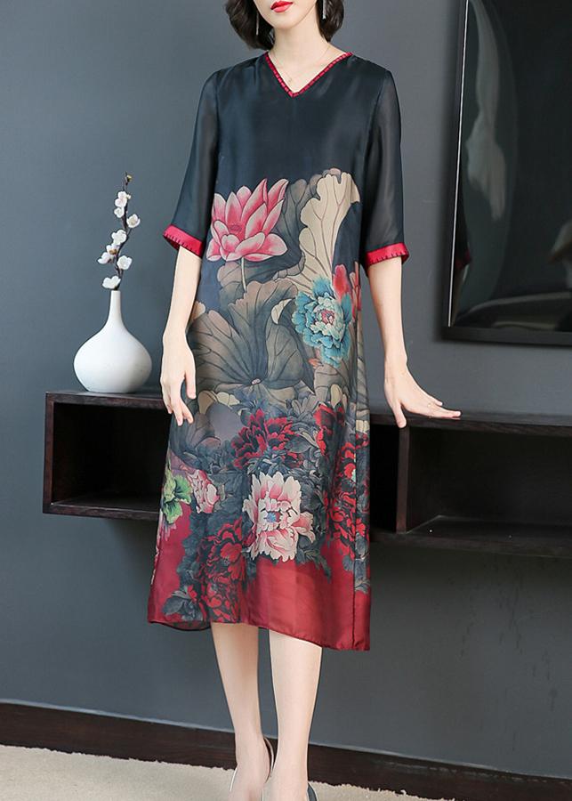 Đầm suông dạo phố đẹp kiểu đầm suông big size in hoa sen GOTI1727