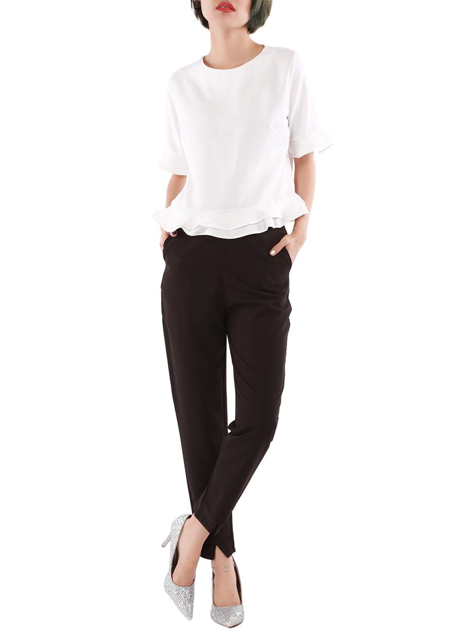 Set áo tay và lai bèo phối quần xẻ tà nữ - Set059