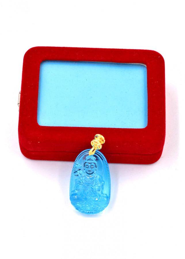Mặt phật Đại Thế Chí thủy tinh xanh lam 3.6cm kèm hộp nhung