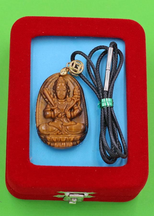 Dây chuyền Hư Không Tạng bồ tát - đá mắt hổ 3.6cm DEMHB6 - dây đen - kèm hộp nhung - tuổi Sửu, Dần