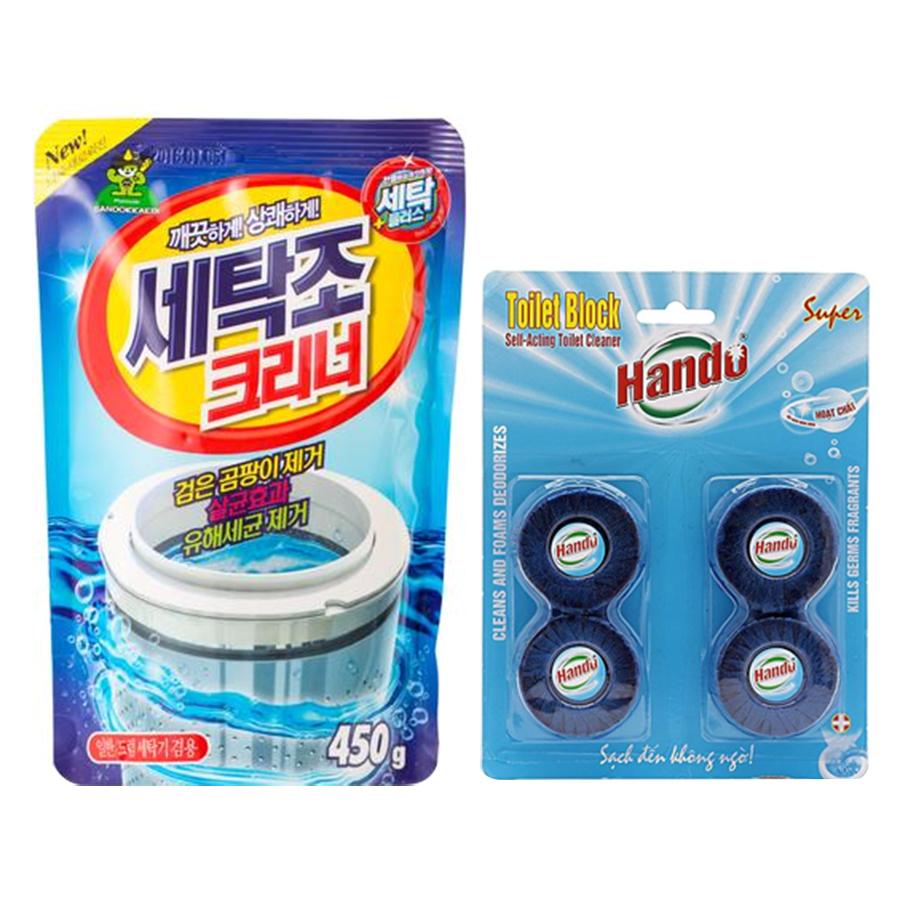 Combo gói bột tẩy vệ sinh lồng máy giặt Hàn Quốc 450g và vỉ 4 viên tẩy sạch khử mùi bồn cầu Hando - 997694 , 2699641494156 , 62_8048537 , 180000 , Combo-goi-bot-tay-ve-sinh-long-may-giat-Han-Quoc-450g-va-vi-4-vien-tay-sach-khu-mui-bon-cau-Hando-62_8048537 , tiki.vn , Combo gói bột tẩy vệ sinh lồng máy giặt Hàn Quốc 450g và vỉ 4 viên tẩy sạch khử mù