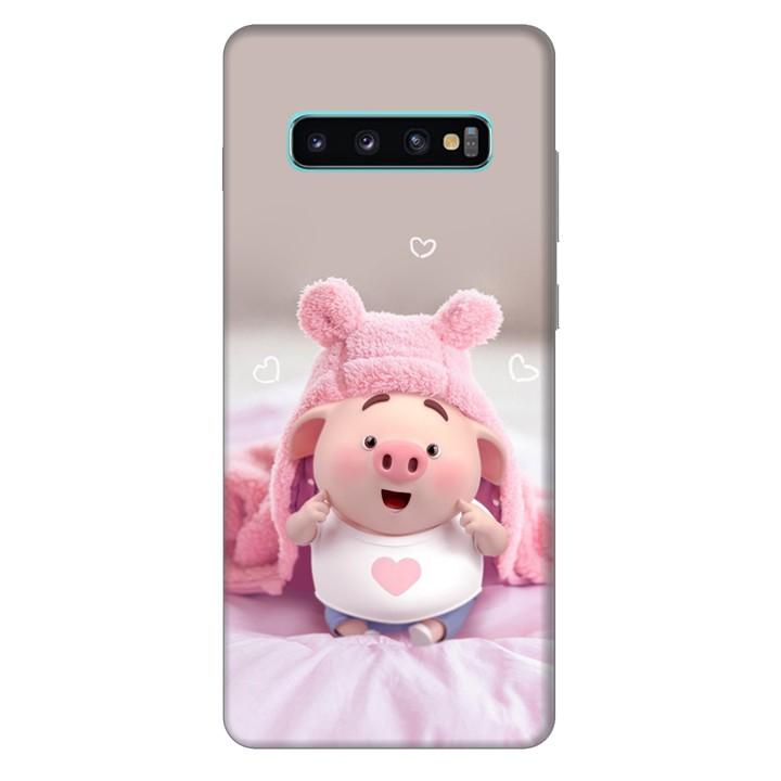 Ốp lưng nhựa cứng nhám dành cho Samsung Galaxy S10 Plus in hình Heo Dễ Thương