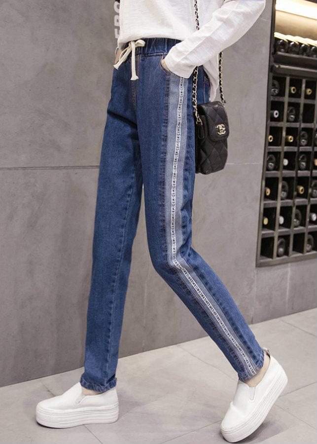 Quần jeans lưng thun viền sọc chữ Mã: QD1997 - XANH ĐẬM