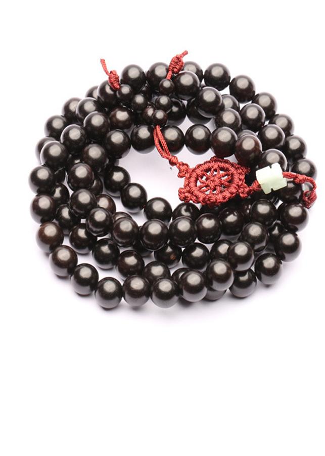 Tràng hạt gỗ mun 108 hạt nam nữ 10 ly đính vòng chỉ đỏ