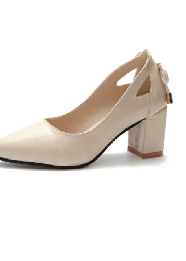 Giày nữ ngoại cỡ cao gót có nơ sau gót