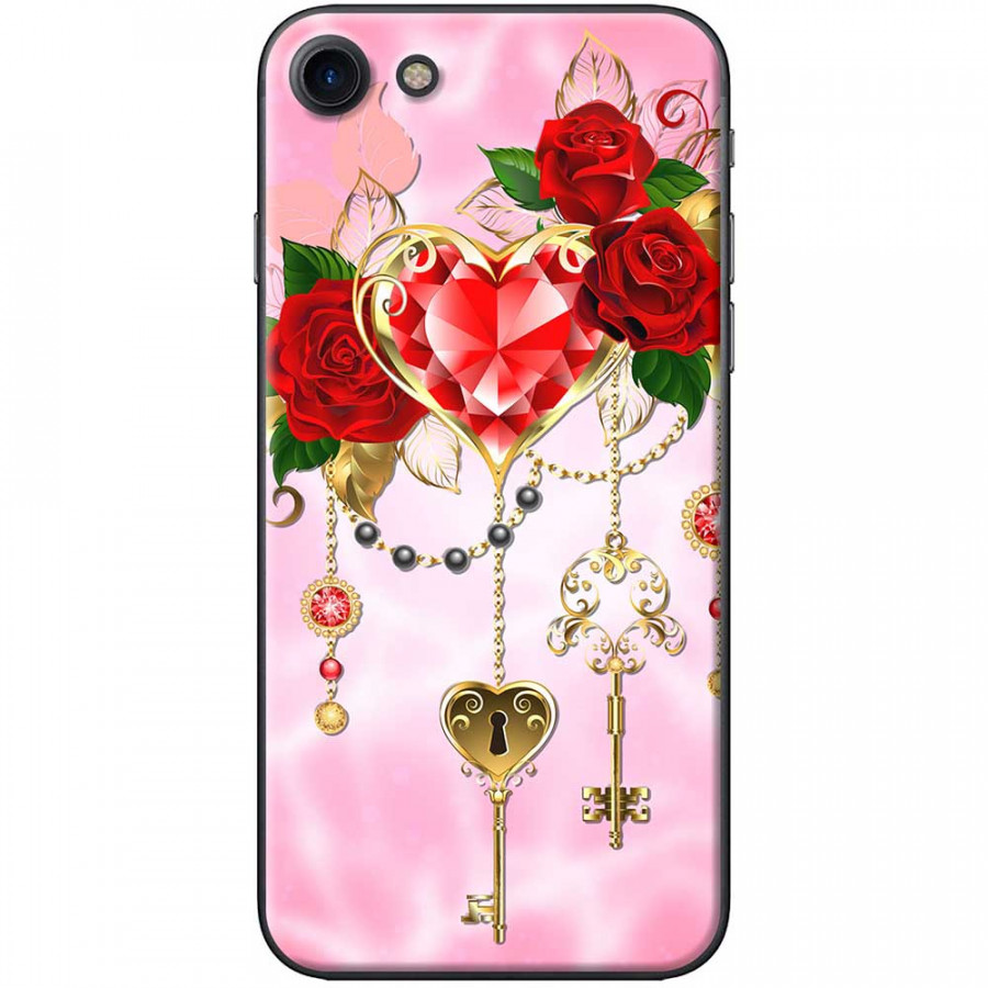 Ốp lưng  dành cho iPhone 7, iPhone 8 mẫu Chìa khóa tình yêu hồng