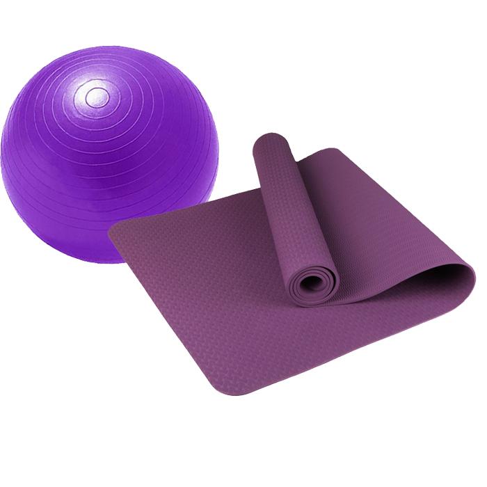 Combo Thảm tập yoga TPE 8mm 1 lớp (Tím) + Bóng tập yoga da trơn (Màu ngẫu nhiên)