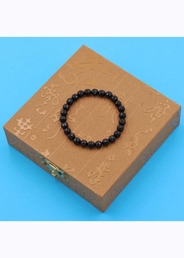 Chuỗi đeo tay - thạch anh đen cắt giác 6 ly - kèm hộp gỗ - hợp mệnh Thủy, mệnh Mộc
