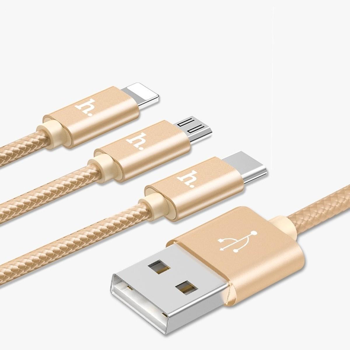 Cáp sạc siêu bền Hoco 3 đầu (Lightning - Micro USB - Type C) Hoco X2 dài 1m (Gold) - Hàng chính hãng - 16027053 , 2094871226544 , 62_21129590 , 110000 , Cap-sac-sieu-ben-Hoco-3-dau-Lightning-Micro-USB-Type-C-Hoco-X2-dai-1m-Gold-Hang-chinh-hang-62_21129590 , tiki.vn , Cáp sạc siêu bền Hoco 3 đầu (Lightning - Micro USB - Type C) Hoco X2 dài 1m (Gold) -