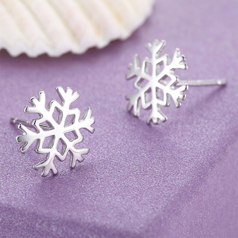 Ear Studs Stud Earring Elegant Beauty Accessories Silver Snowflake Women Gifts Party Jewelry