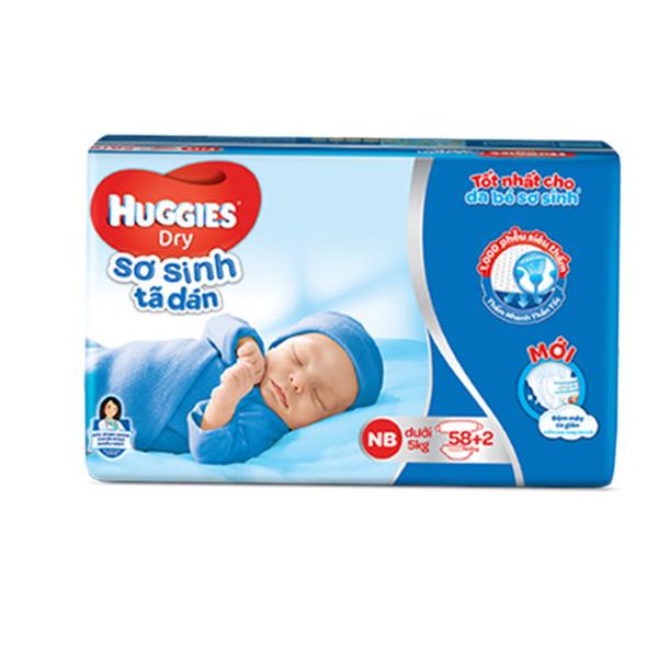 Tã Dán Sơ Sinh Huggies Dry Newborn (58 Miếng + 2 Miếng)