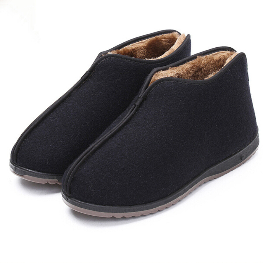 Victorian traditional old Beijing shoes men's non-slip soft bottom warm plus velvet thick cotton boots WZ1013 black 40