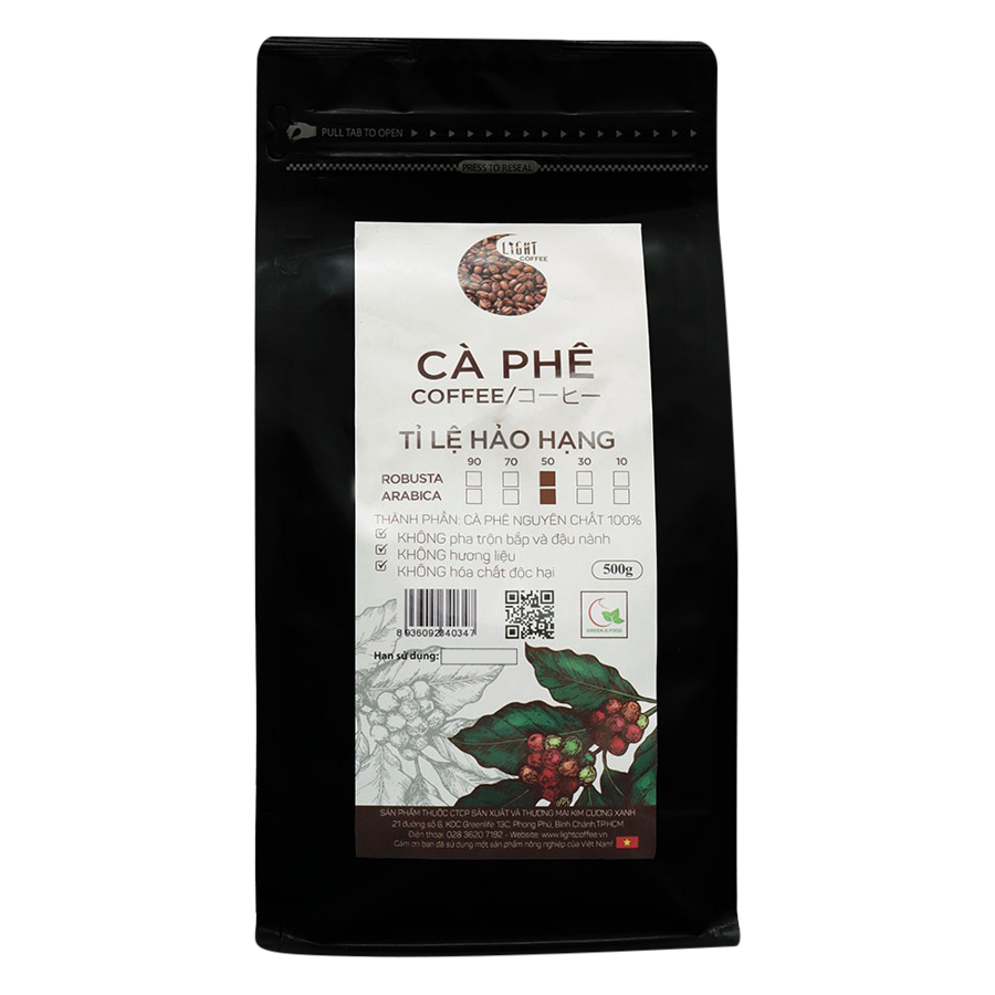 Cà Phê Hạt Nguyên Chất Tỉ Lệ Hảo Hạng 50% Robusta Và 50% Arabica Light Coffee 5R5AHH500 (500g / Gói)