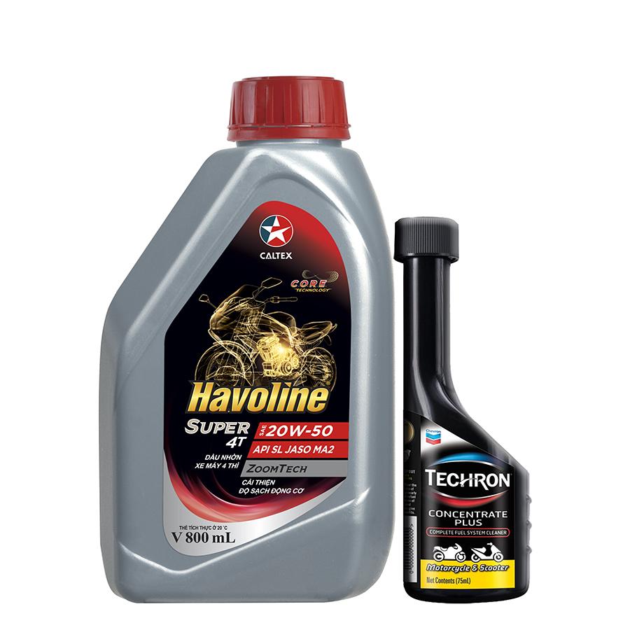 Bộ dầu nhớt xe moto và xe số Caltex Havoline Super 4T SAE 20W50 API SL JASO MA2 800ml kèm dung môi pha xăng