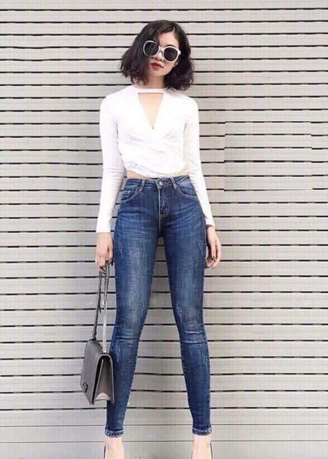 Quần jean dài nữ cào nhẹ - B1032