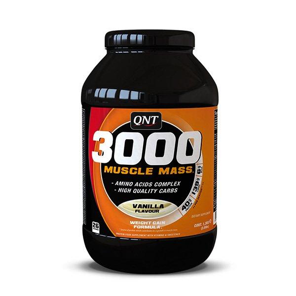 Thực phẩm tăng cơ 3000 Muscle Mass QNT hương vị sữa Vani 4.5Kg tặng kèm bình lắc