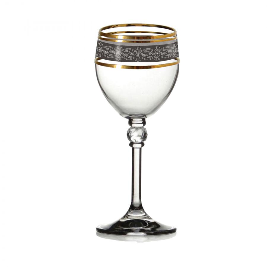 Bộ 6 ly rượu mạnh mạ platin viền vàng 24k Tiệp Khắc 060 ml