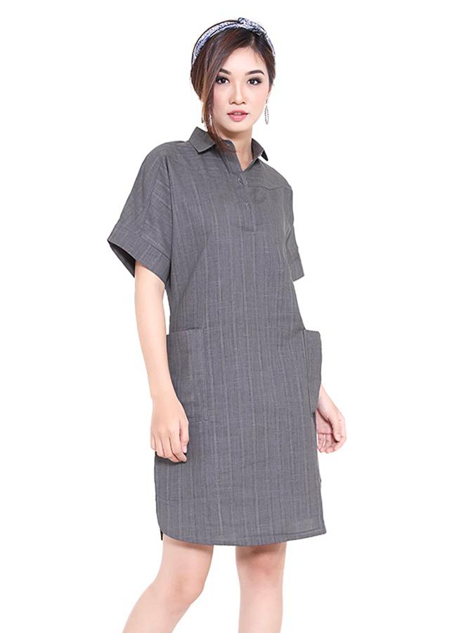Đầm Suông Phối Túi Bên - Xám - Citino