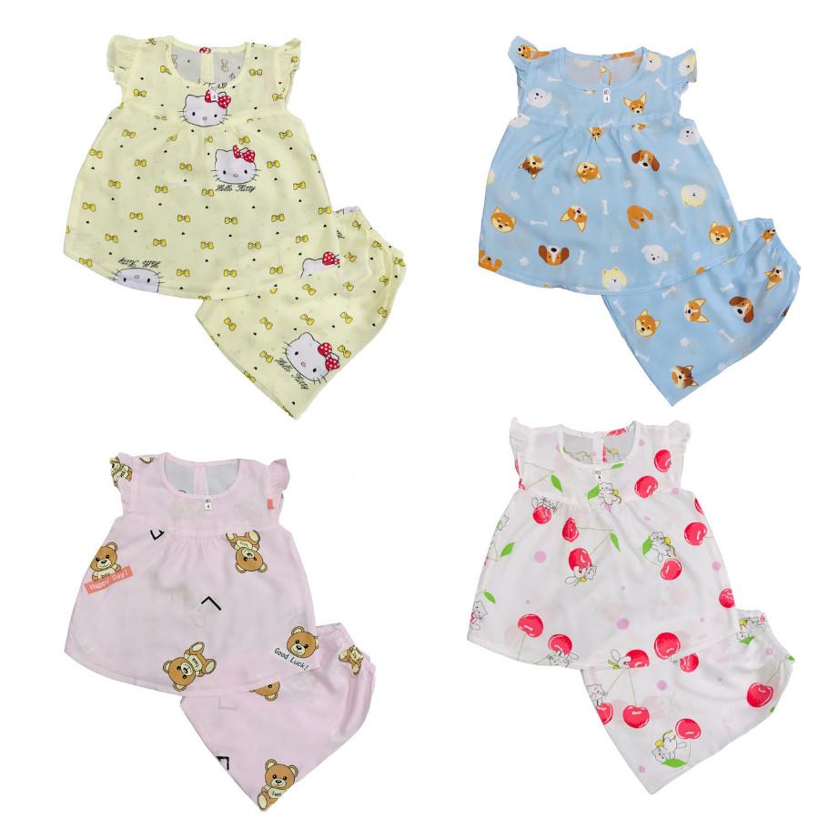 Set 3 bộ quần áo tole, lanh CÁNH TIÊN cho bé gái size từ 6-30kg - màu ngẫu nhiên