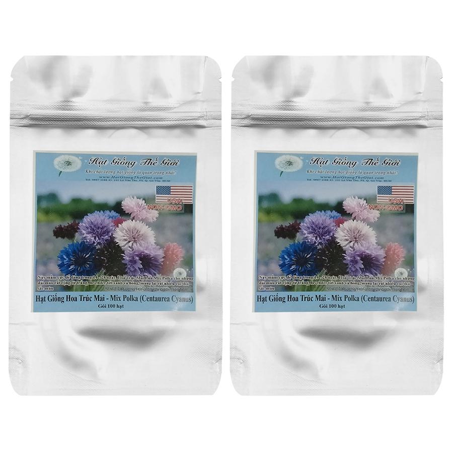 Bộ 2 Túi Hạt Giống Hoa Trúc Mai Mix Polka (Centaurea Cyanus) - 100 Hạt
