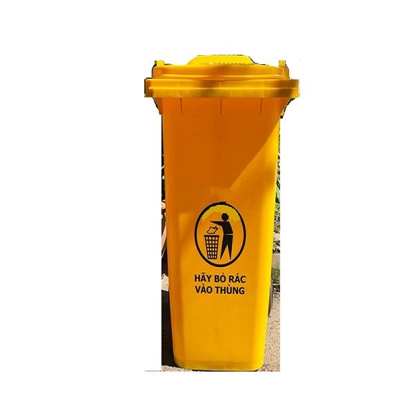 Thùng rác nhựa 120L màu vàng