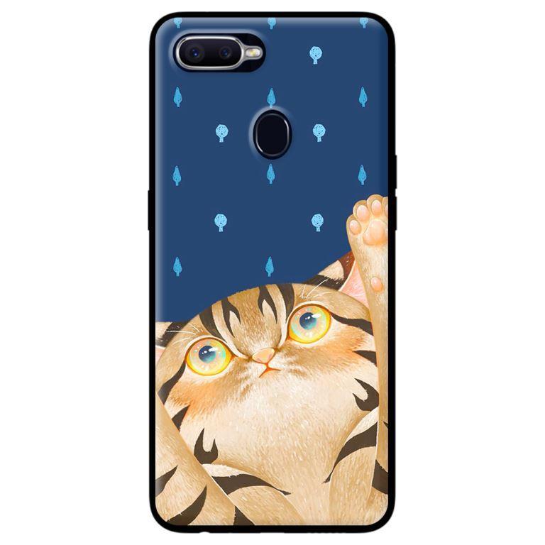Ốp in cho Oppo A7 Mèo Xanh - Hàng chính hãng
