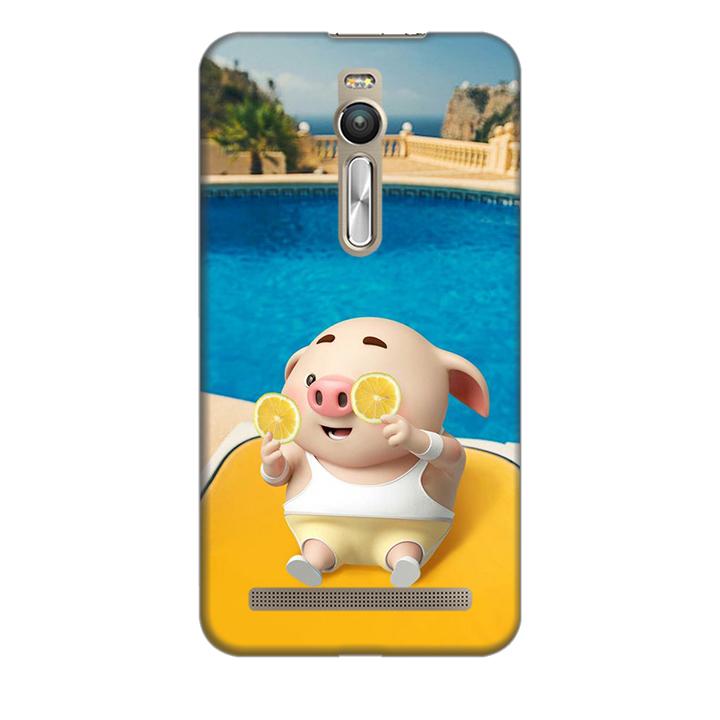 Ốp lưng nhựa cứng nhám dành cho Asus Zenfone 2 ZE550ML in hình Heo Tắm Bể Bơi