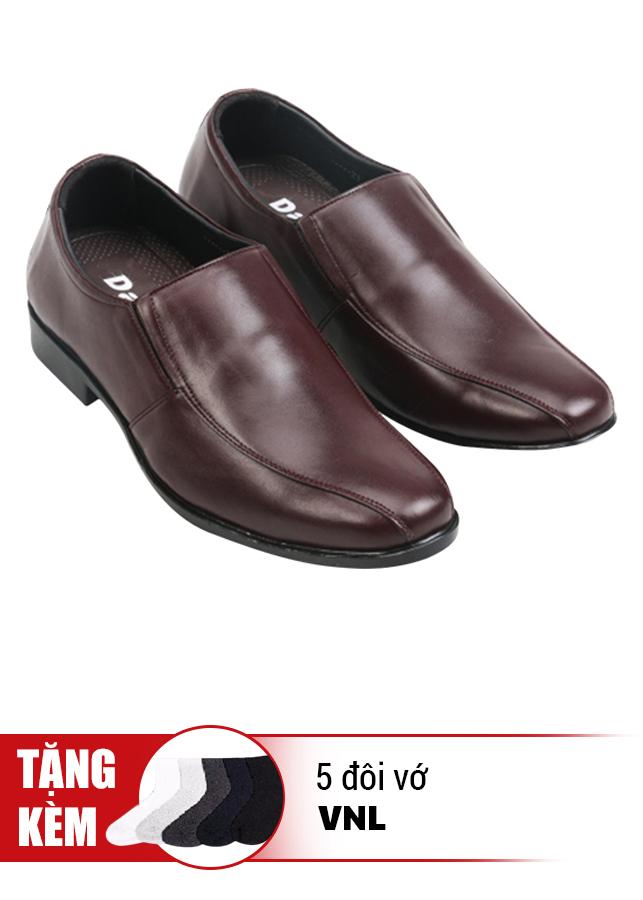 Giày Tăng Chiều Cao Da Thật Kiểu Dáng Trẻ Trung VNL VNL0ALZD21CN-QTV - Nâu + Tặng 5 Đôi Vớ Cao Cấp