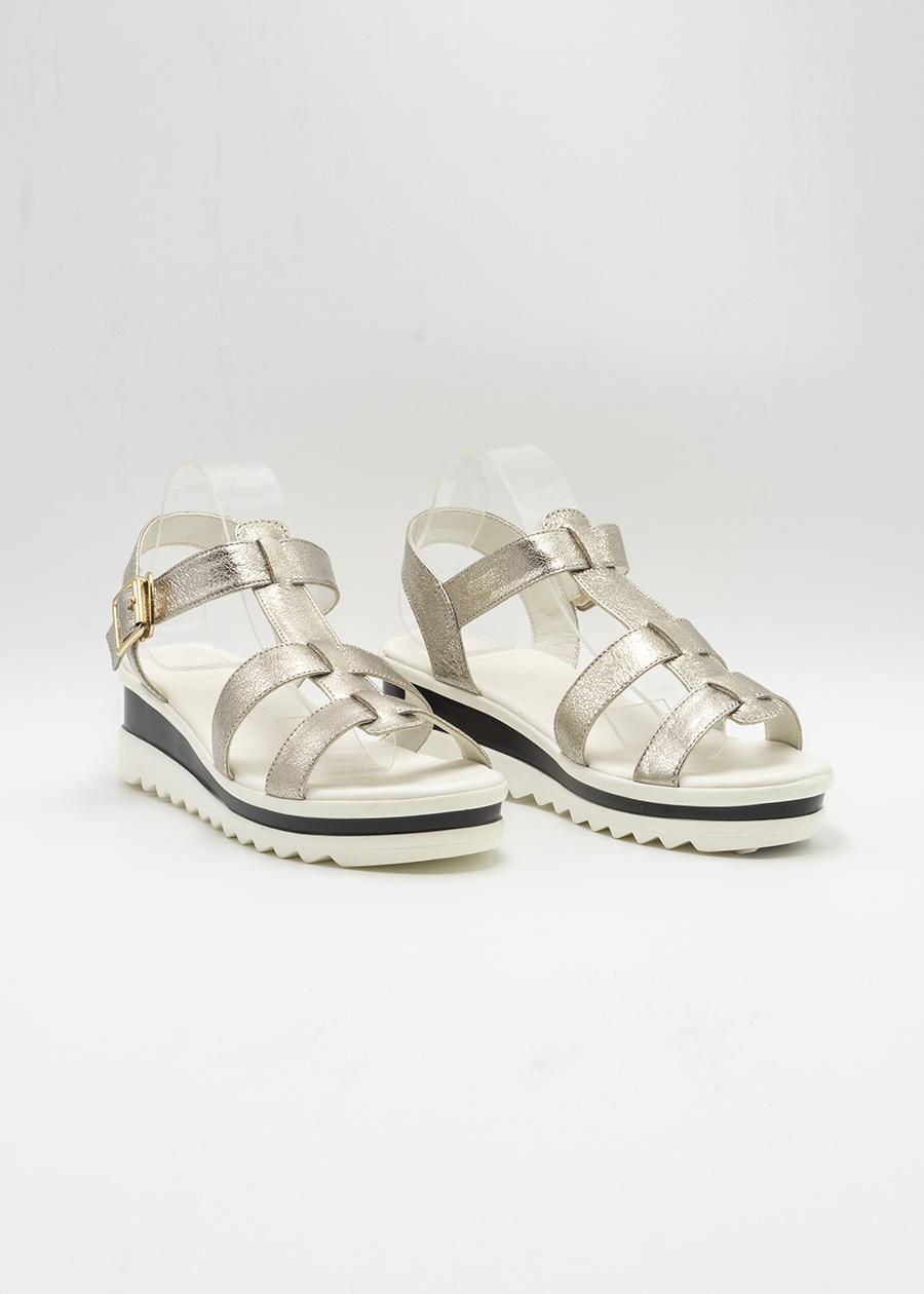Giày Sandal Lamnda Đế bằng Màu Bạc KayLee