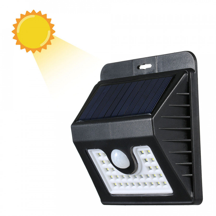 1 Pcs LED Solar Power PIR Motion Sensor Wall Light Outdoor Garden Lamp Waterproof 30 LEDs